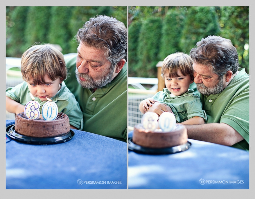 Little Caleb helps his grandpa blow out his 60th birthday candles at the family get-together