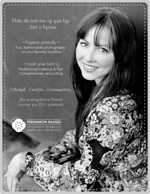 An ad for Seattle senior portrait photography by Persimmon Images