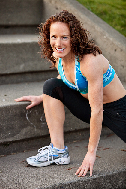 Professional runner and personal trainer Rose Wetzel poses for headshots for Shape Magazine in Seattle