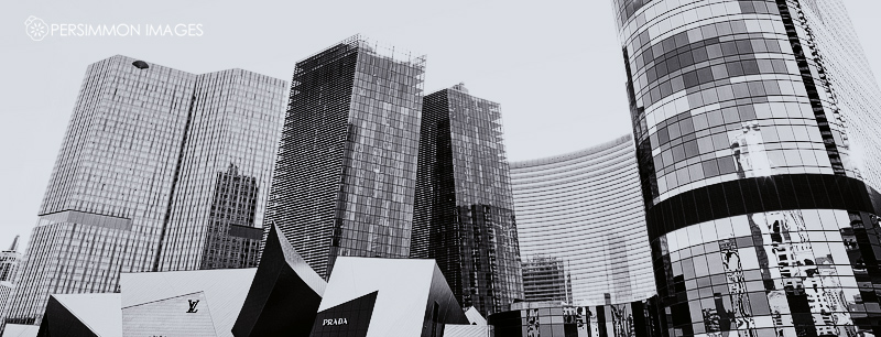The newer parts of the Las Vegas strip are dominated by ultra-modern architecture