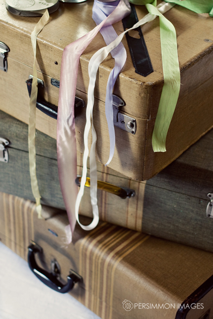 Vintage Silk Ribbon and Suitcases for seattle boudoir photographs and engagement session props