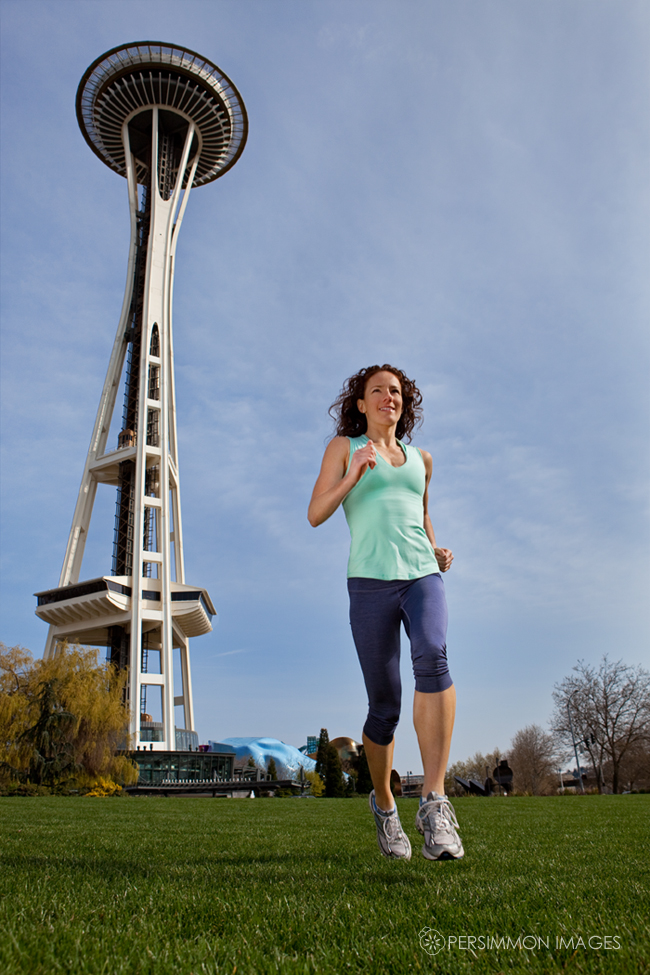 Seattle is home to some serious athletes like Rose Wetzel, a trainer and Brooks-sponsored runner, seen here under the space needle as photographed for a Shape Magazine article on the 10 fittest US cities