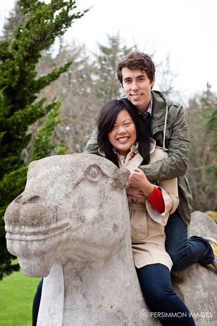 Seattle Asian Art Museum stone camel engagement photography