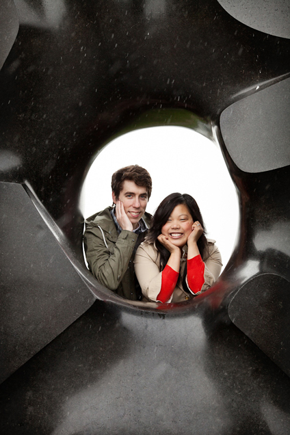 Seattle engagement photography with Black Sun by Isamu Noguchi
