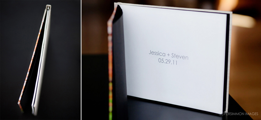 Engagement photography album title page and spine by Persimmon Images wedding photographers