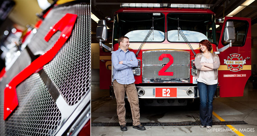 Seattle Belltown Fire Station engagement photography with fire engine number 2