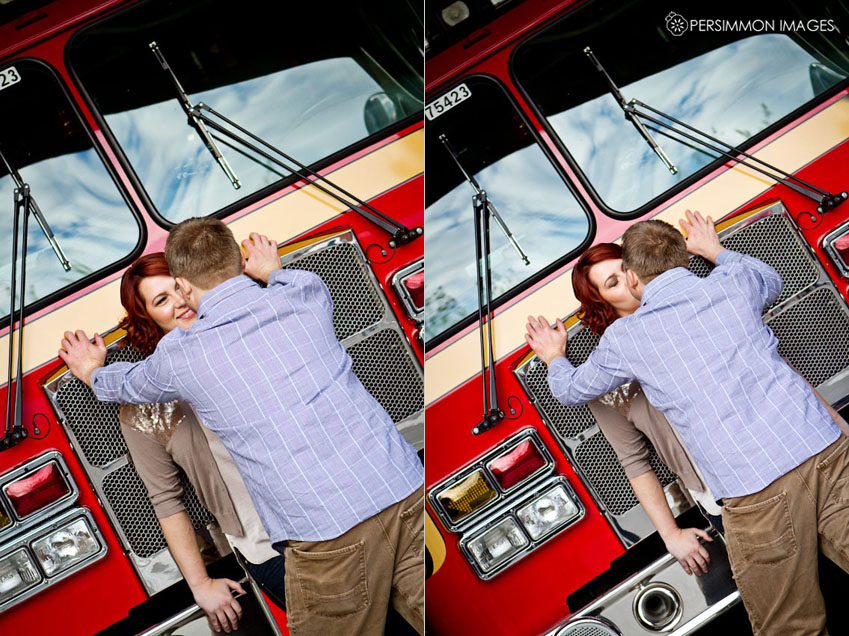 Modern, colorful engagement photograph with Seattle fire engine at Belltown Fire Station