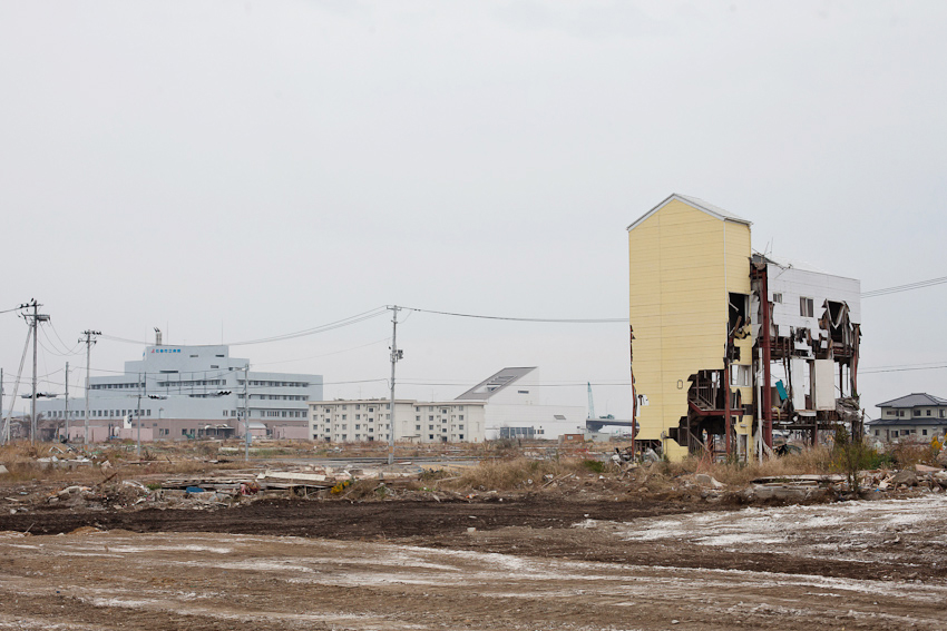 Ishinomaki City, where a huge wave blasted through buildings along the coast