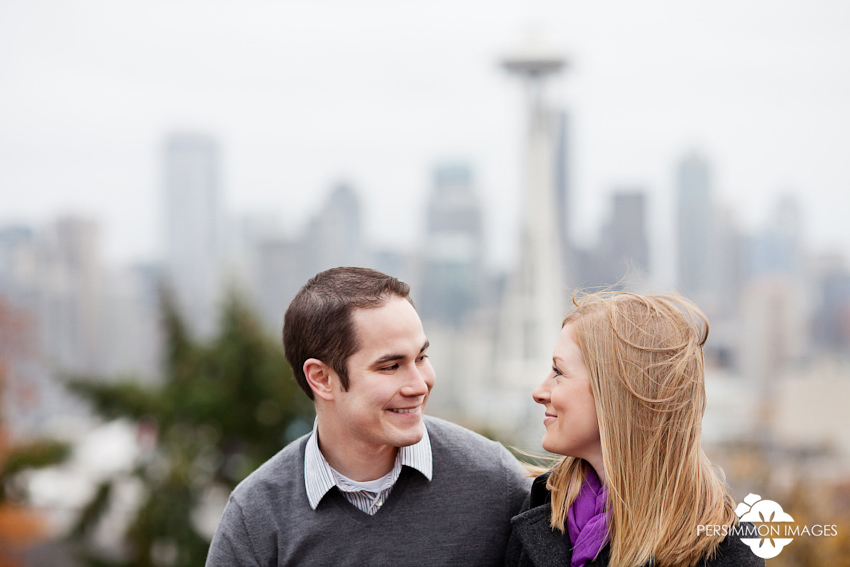 Kerry Park engagement photography with Space Needle and Seattle views