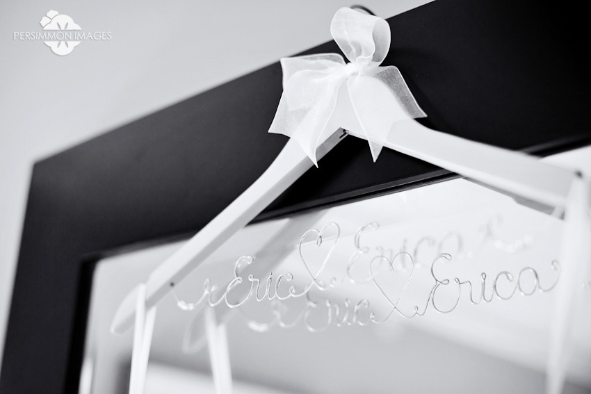 Hotel Andra wedding photography in downtown Seattle. Custom wedding hanger in Hotel Andra bridal suite