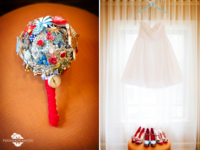 Custom brooch bouquet by Jen Diehl of The Ritzy Rose and short Polka Dot wedding dress by Dolly Couture. Seattle Wedding Photographers Persimmon Images.