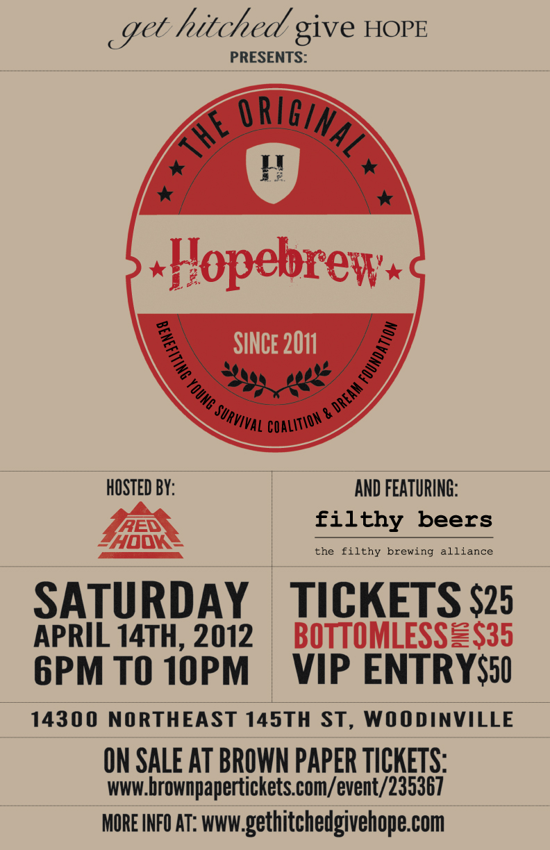 Hopebrew Beer Fundraiser Redhook April 14, 2012 Get Hitched, Give Hope