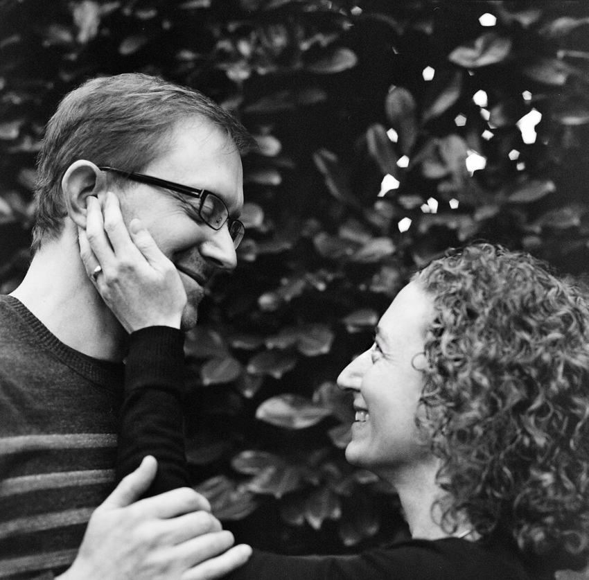 Seattle engagement photographer with black and white hasselblad film