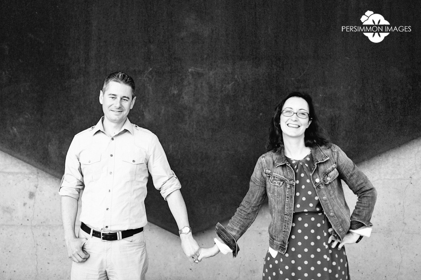 Olympic Sculpture Park Seattle engagement photos. Modern black and white portraiture by Persimmon Images