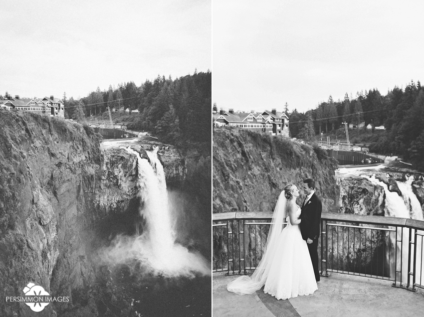 Snoqualmie Falls bride and groom at Salish Lodge Wedding. Seattle wedding photographers Persimmon Images.