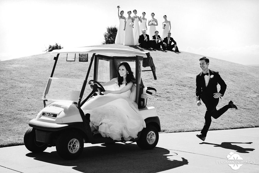 Groom chases bride in a golf cart at Newcastle Golf Club in Newcastle, WA. Seattle Wedding Photographer Persimmon Images