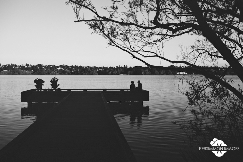 Sunrise engagement photography at Green Lake in Seattle, WA
