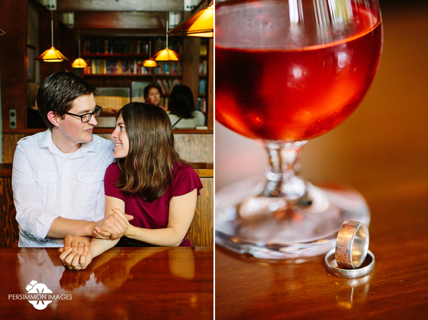 Ballard Old Town engagement photographs at Noble Fir. Couple reenacts first date and shows off engagement rings with cider. Seattle Beloved Photography