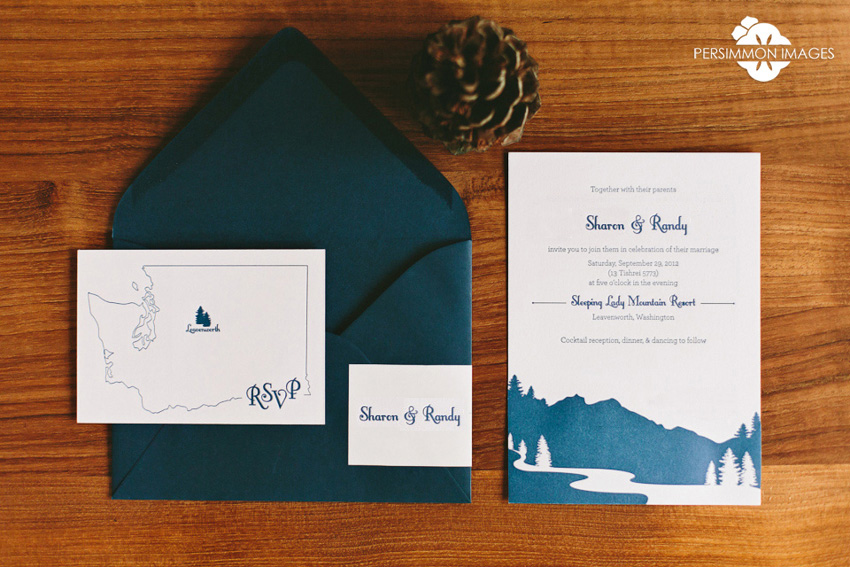 Sleeping Lady Mountain Wedding Invitation Letterpress Stationery by Brown Sugar Design