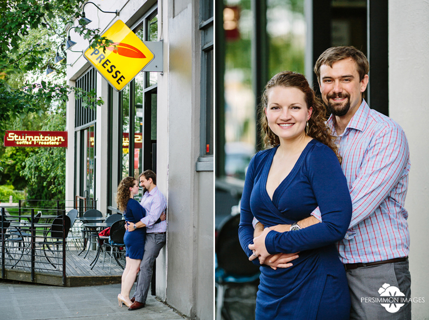 First date engagement session at Cafe Presse on Capitol Hill. Seattle engagement photographer Persimmon Images