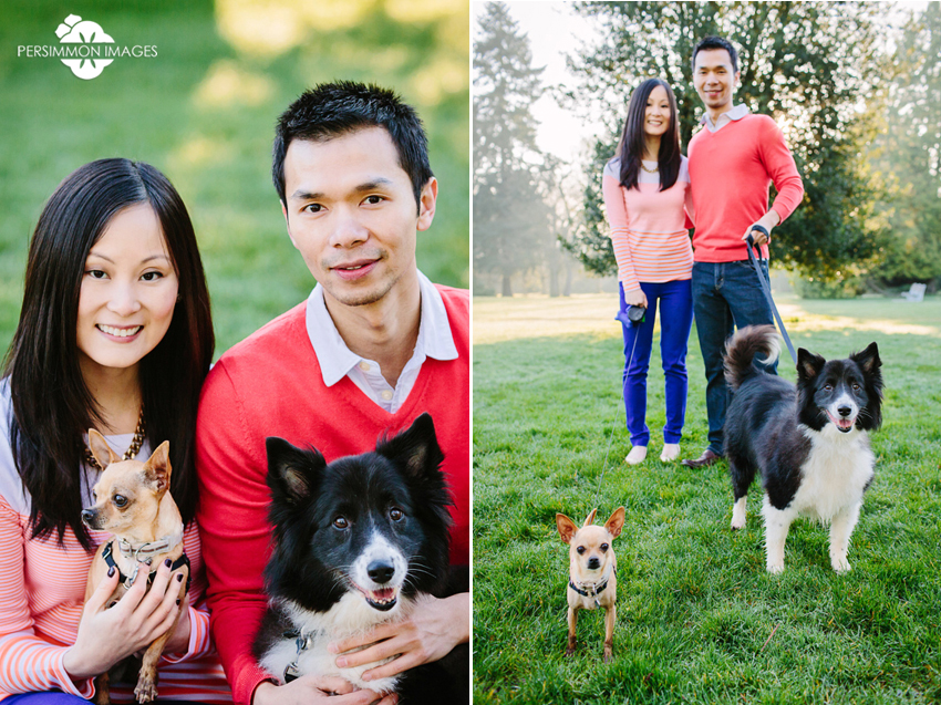 Modern engagement portraits at Volunteer Park in Seattle. Engagement photographs with dogs on Capitol Hill by Seattle engagement photographer Persimmon Images