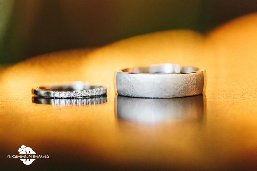 Willows Lodge wedding rings photography by Seattle wedding photographer Persimmon Images